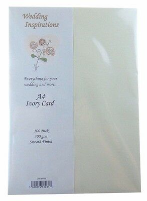Craft UK Wedding Inspirations A4 Ivory Card pack of 100  CUKW120 N