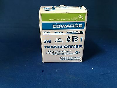 Edwards 598 Transformer 120V Primary 8V 16V 24V Secondary New in Box
