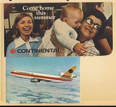 Continental Airlines DC-10 Unused Postcard & Ticket Folder - #3861