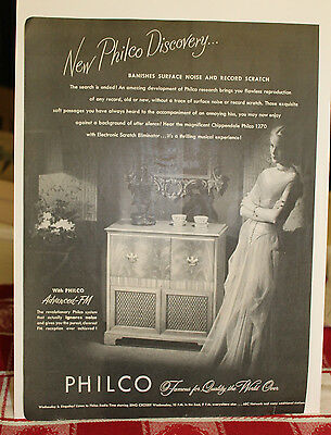 1940s-50s? PHILCO PHONOGRAPH /RADIO with Electronic Scratch Eliminator  print ad