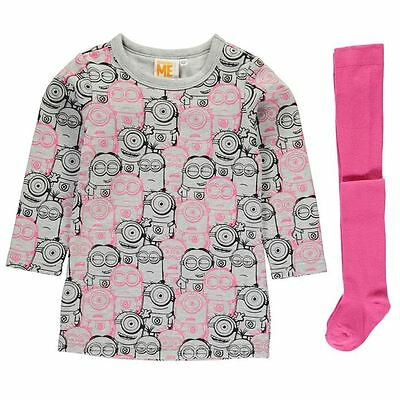 Girls Character Sweatshirt Dress & Tights Set Minions New With Tags