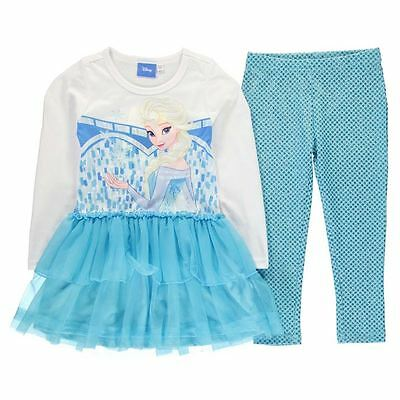 Girls Character Frill Dress & Leggings Outfit Set Disney Frozen New With Tags