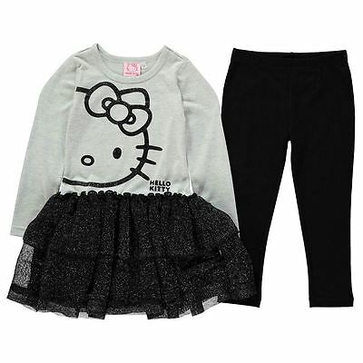Girls Character Frill Dress & Leggings Outfit Set Hello Kitty New With Tags