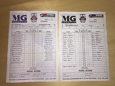 Liverpool V Manchester United U15 Youth 19.10.16 Blades Cup Final Team Sheet X2