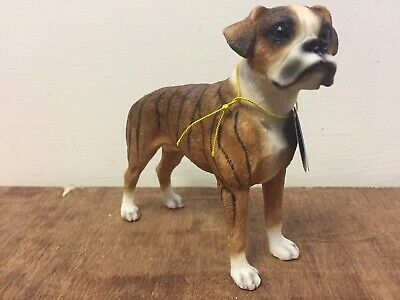 Brown Boxer Dog Ornament Figure By Leonardo New in Box Brown and White Boxer Dog