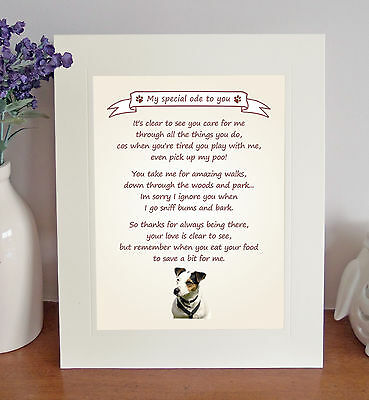 "Jack Russell Terrier 10"" x 8"" 'Thank You' Poem Fun Novelty Gift FROM THE DOG"