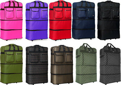 "30""/36""/40"" Expandable Rolling Duffel Bag Wheeled Spinner Suitcase Luggage"