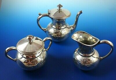 3-Piece Silver Plate Sugar Bowl, Creamer & Tea Pot by Meriden Co.