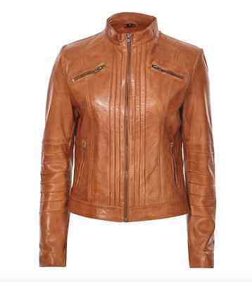 Ladies Brown Tan Leather Smart Mandarin Collar True Sizing Short Biker jacket