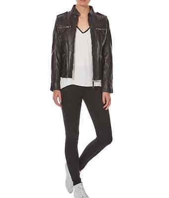 Ladies Black Leather Smart Mandarin Collar True Sizing Zipped Stud Biker jacket