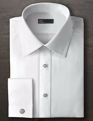 New Mens All Size White Tuxedo Shirt Cotton Twill French Cuff Non Pleated Collar