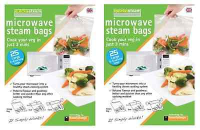 2x toastabags Quickasteam Large Microwave Steam Cooking Bags - 25 Bags