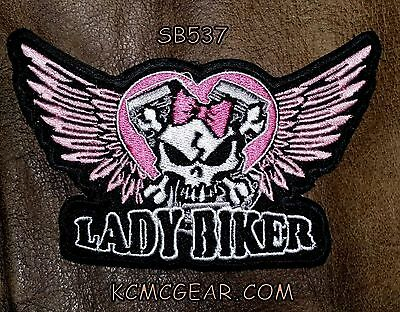 Lady Biker winged Skull Small Badge for Women Biker Vest Motorcycle Patch