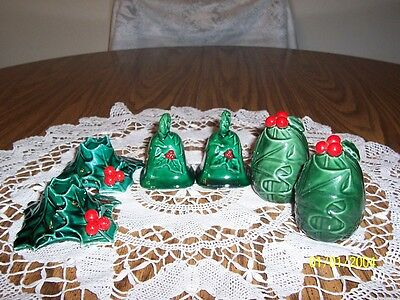 Lefton Green Holly Christmas Candle Holders Two Pair Shakers One Bells