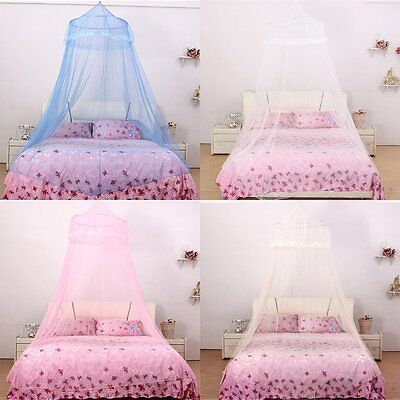 Satin Crown Mosquito Net Bed Single Double King Midge Insect Fly Canopy 3 Colors