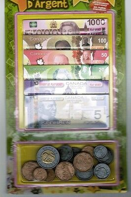 Canadian Canada Currency Play Money Paper Bills with Plastic Coins