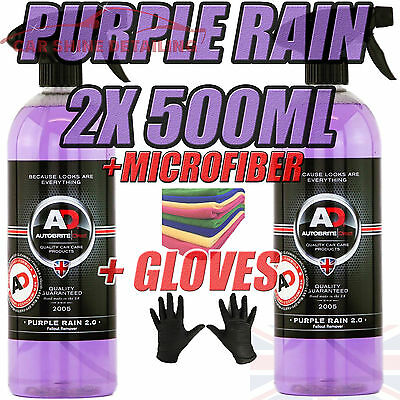 Purple Rain 2x500ml Autobrite Direct, Alloy Wheel Cleaner Iron Remover +GLOVE+MF