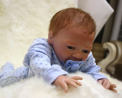 "18"" Handmade Reborn Baby Boy Doll Newborn Lifelike Soft Vinyl silicone Girl Toy"