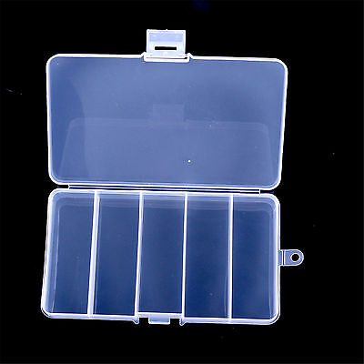 Protable 5 Compartments Fishing Lure Bait Tackle Waterproof Storage Box Case