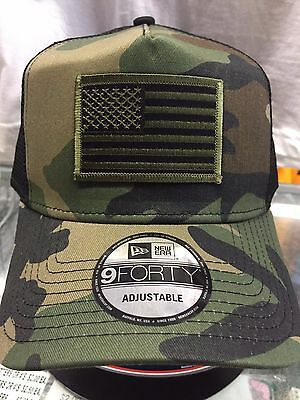 New Era NE205 Camo Mesh Snapback Trucker Hat Cap w  Green Black American  Flag 517dd0d23c2