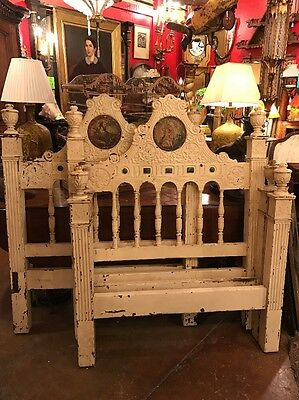 Antique Marshall Laird painted shabby Twin Beds.