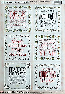 A4 DIE CUT FOILED CARD TOPPER SHEET CHRISTMAS SENTIMENTS CDT583G Paper Tole