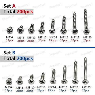 200pcs M3 Stainless Steel Phillips Pan Flat Head Self-Tapping Screws Assortment