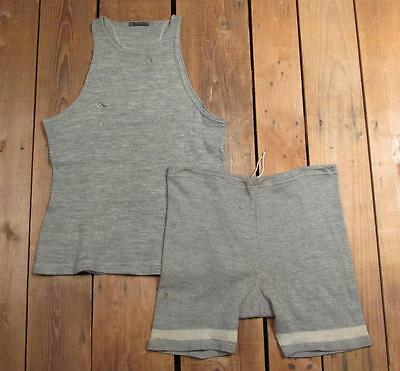 Vintage 1920s Meigs & Co Wool Mens Swimsuit 2 Piece Shirt/Shorts Antique Surfer