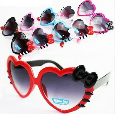 Cartoon Heart Shape Cute Colorful Style  Bow Heart Décor Childrens Sunglasses