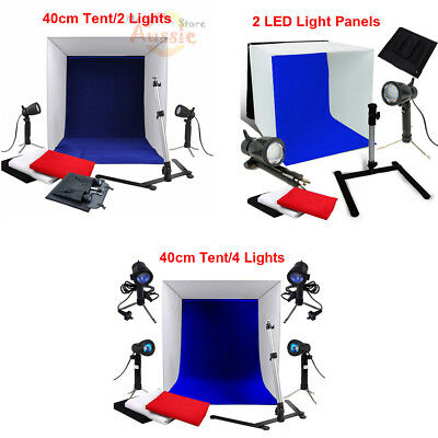 Portable 40cm Photo Studio Softbox Soft Box Lighting Cube Tent 4 Backdrops Kit