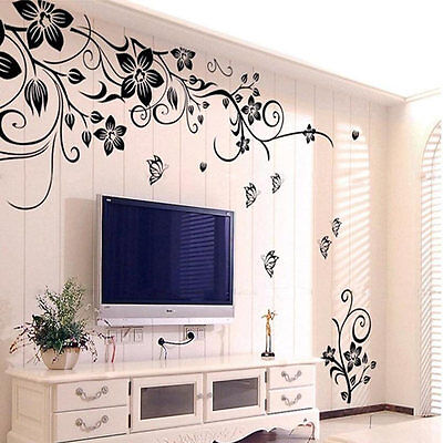Home Removable Vinyl Wall Sticker Flowers Vine Mural Decal Art Stikers Decor
