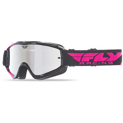 NEW Fly Racing MX Youth Zone Black Pink Chrome Tinted Kids Motocross Goggles