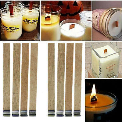 10Pcs Candle Wick Wooden Core with Sustainer Tab DIY Candle Making Supply 3 Size