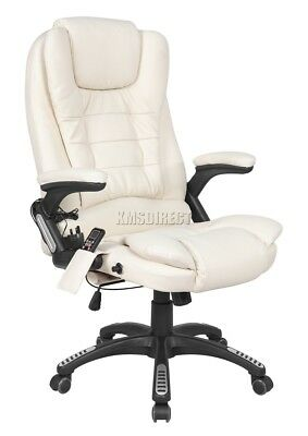 WestWood Cream Luxury Leather 6 Point Massage Office Computer Chair Reclining