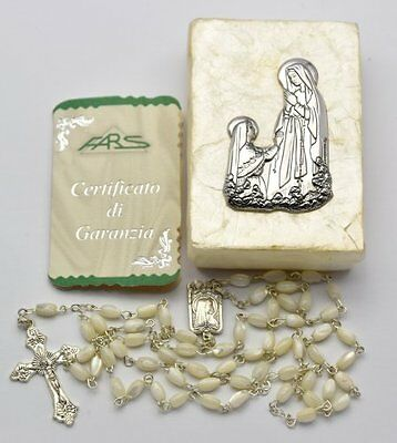 Mother of Pearl Lourdes Rosary Beads & Lourdes Silver Plated Rosary Box