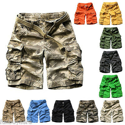 SALE Fashion Mens Cargo Pants Shorts Trousers Casual Military CAMO Combat Army
