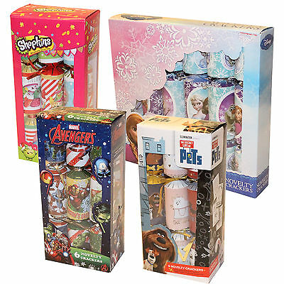 6 Pack Children's Character Novelty Christmas Crackers - Choose Design