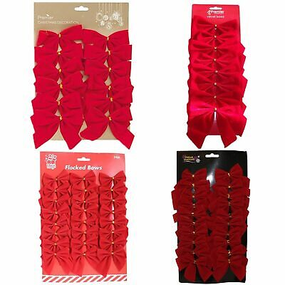 Red Velvet Bows Christmas Tree or Present Decoration - Choose pack size