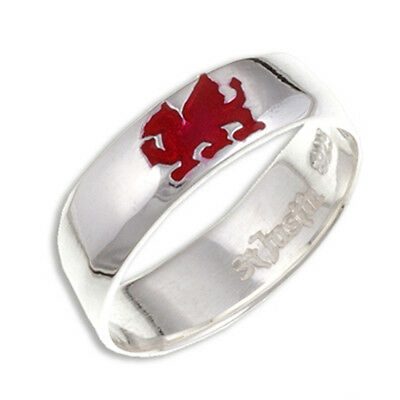 Welsh Dragon Ring in 925 Silver by St.Justin, Cornwall SR927