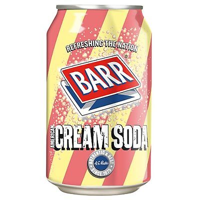 Pack of 12 Barr American Cream Soda Soft Fizzy Drinks Cans 330 ml each