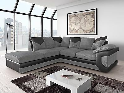 Large New Dino Corner Sofa Settee Grey Black Or Beige Brown, Left Right Side