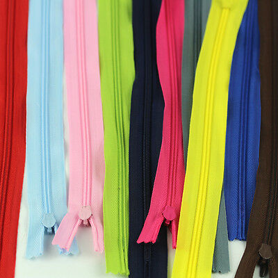 Bulk 10Pcs Nylon Coil Zippers Invisible Closed End Zipper Tailor Sewing Supplies