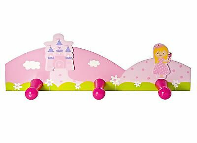 Children's  Kids Pink Princess Coat Clothes Wall Hooks Girls Nursery or Bedroom
