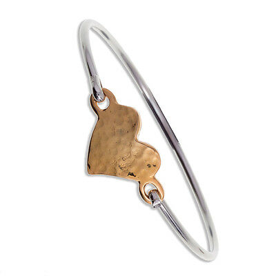 Two Tone Hammered Heart Clip Bangle in Cornish Pewter by St Justin TB900