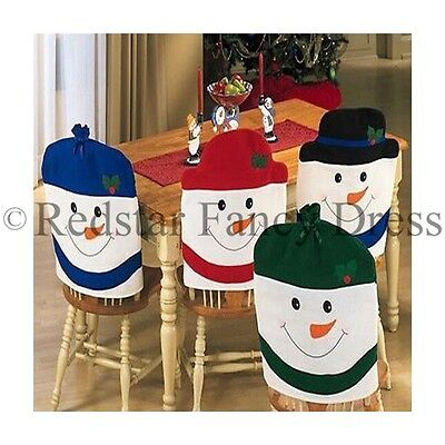 4Pc Christmas Snowman Chair Cover Set Kitchen Dining Room Table Xmas Festive