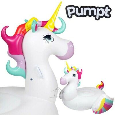 NEW Pumpt GIANT Unicorn w/ Rainbow Wings Pool Float Inflatable Beach Water Raft