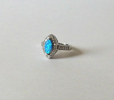 925 STERLING SILVER MARQUISE BLUE OPAL RING size N1/2