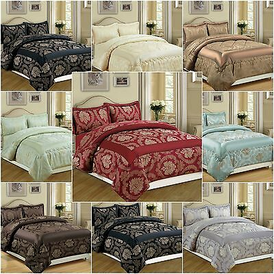 NEW 3 Piece Jacquard Quilted Bedspread Comforter Bed Set - Double & King Bedding