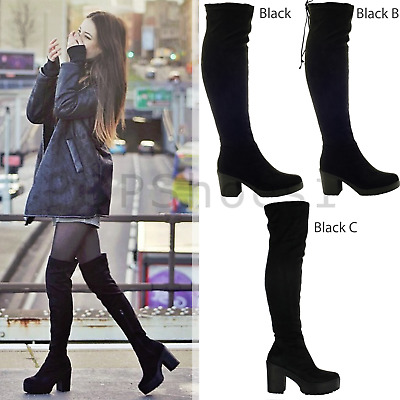 Ladies Womens Over The Knee Thigh High Chunky Platform Heel Stretch Boots Size