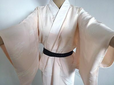 Authentic handmade Japanese silk women's jyuban for kimono, pink (I389)